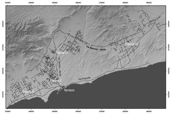 "Centuriacions. Extret de: Palet, J.M. i Orengo, H. (2010) ""Les centuriacions de l'Ager Tarraconesis: organització i concepcions de l'espai"", Ager tarraconensis 1"