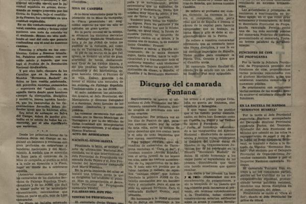 """Notícia sobre el """"Acto de Afirmación Nacional-Sindicalista"""" (1939). Diario Español."""